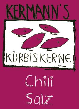 Etiketten Kürbiskerne Cili Salz