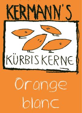 EtiketteKürbiskerne Schoko orange blanc